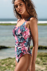 Ruched Design Leaf Print One Piece Swimsuit