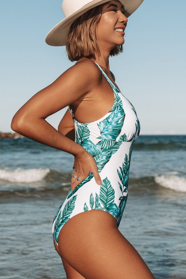 V Neck Leaf Print One Piece Swimwear