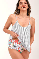 Flower&Stripe Cute Tankini Bathing Suit Set