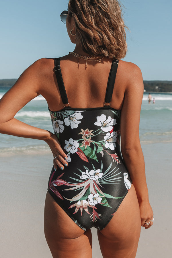 Mesh and Flower Patchwork One Piece Swimsuit