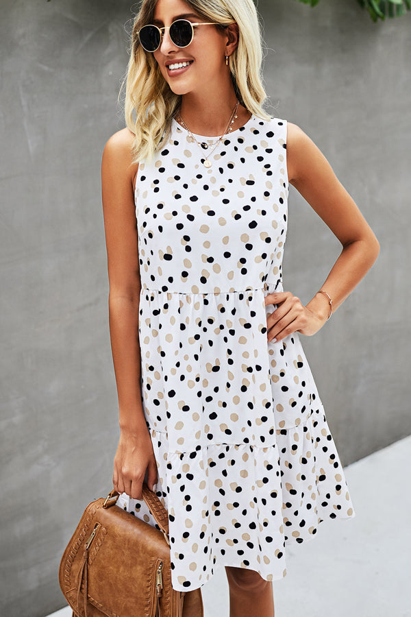 Polka Dot Print Patchwork Ruffle Hem Casual Dress
