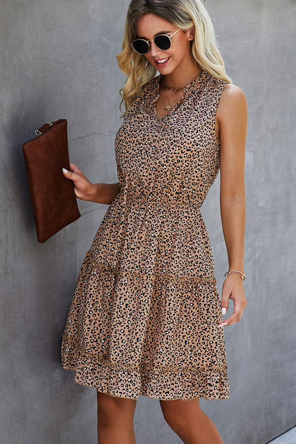 Leopard Print Ruffled Hem Mini Dress