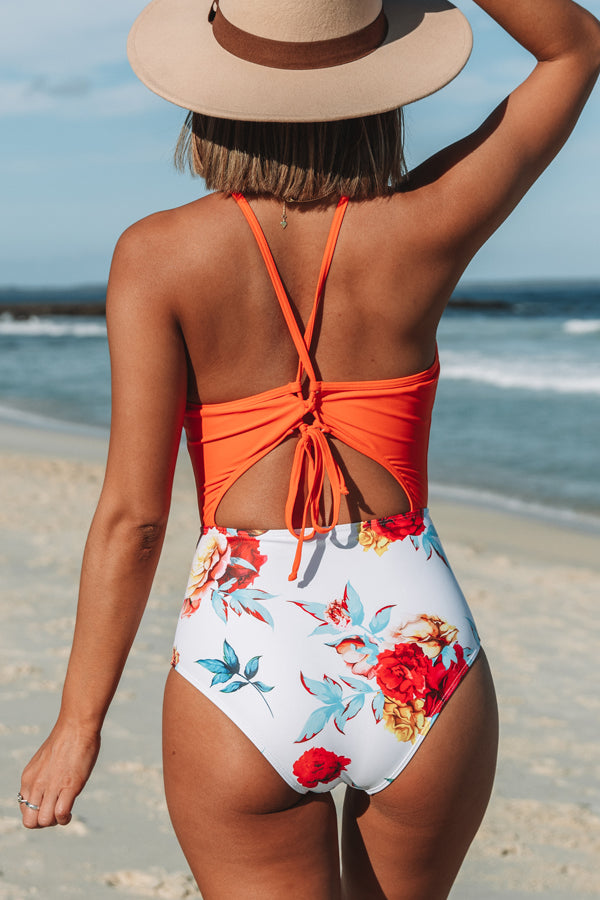 Orange and Floral Print One Piece Swimwear
