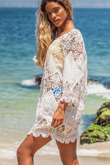 Round Neck Ethnic Swimwear Cover Ups