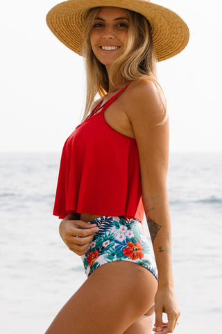 Cross Front Flower Print High Waisted Tankini Set
