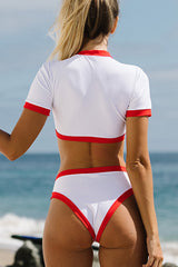 Two Pieces Red Hem Solid Color Bikini Set