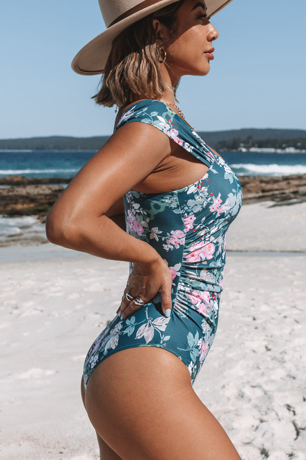 Green and Flower Print One Piece Swimsuit