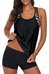 Scoop Neck Leopard Print Tankini Set