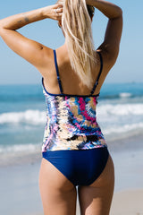 Strappy Neck Printed Tankini Set