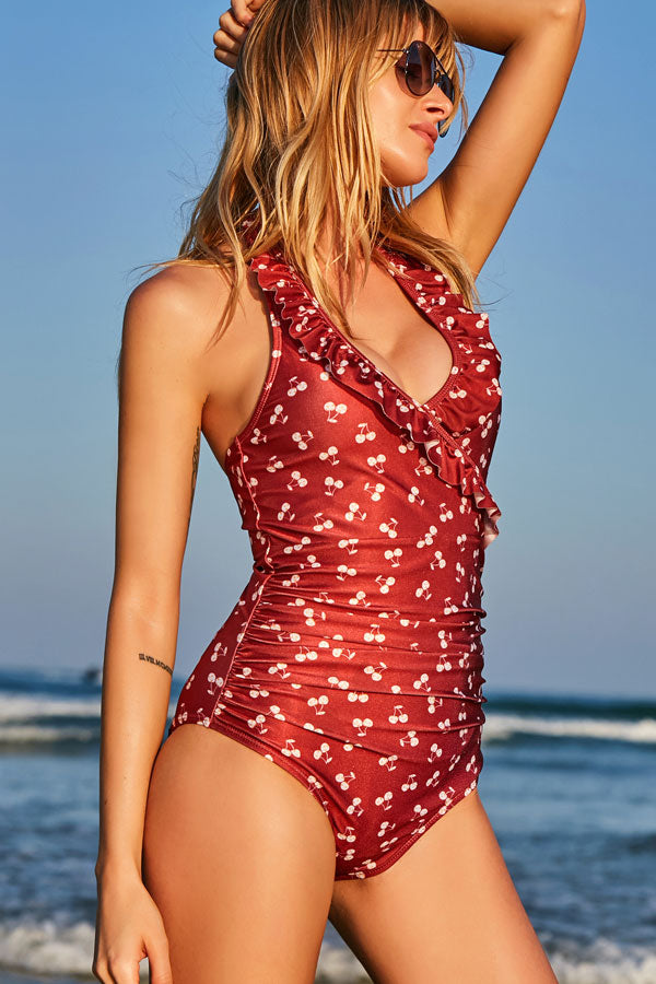 Halter Neck Cherry Print One Piece Swimwear