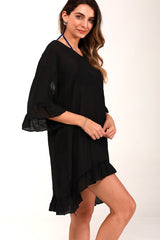 V Neck Solid Color Bikini Cover Up