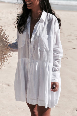 Button Up Turndown Collar White Cover Up