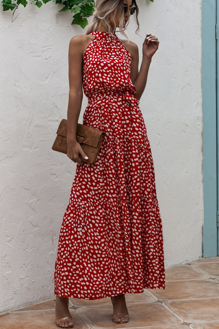 Polka Dot Print Belted Halter Maxi Dress