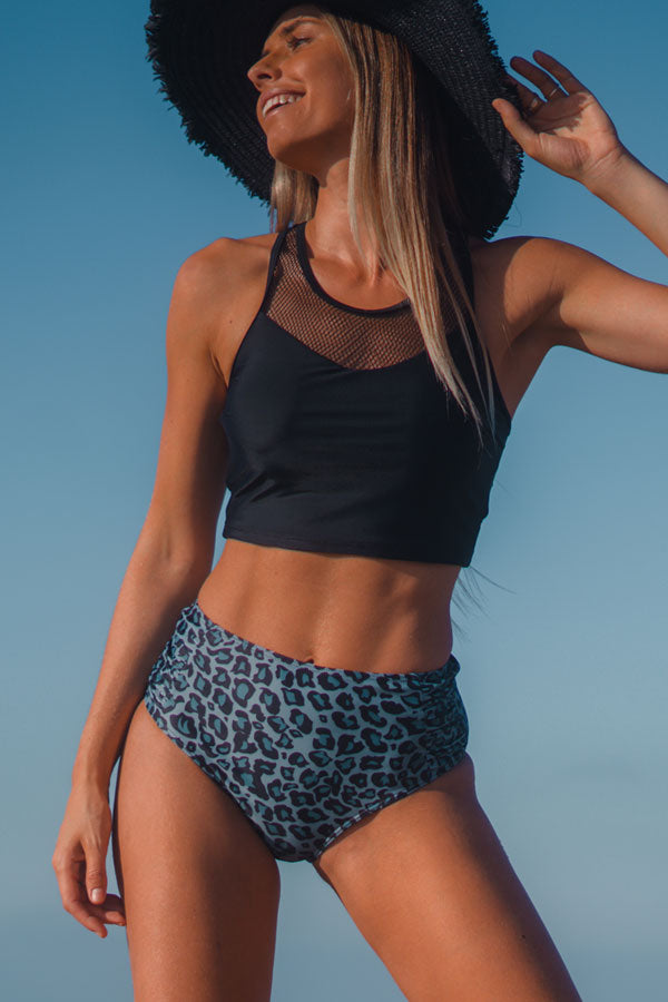 Mesh Panel High Waist Leopard Print Bikini Set