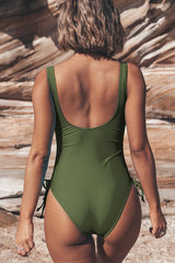 Twist Front Drawstring Side One Piece Swimsuits