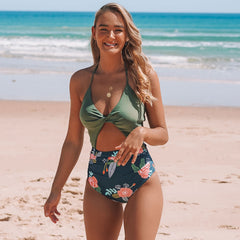Flower Print Twist Front One Piece Swimsuits