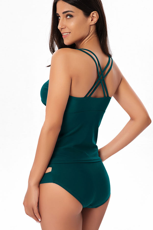 Criss Cross Back Solid Tankini Set
