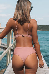 Ruched Design Solid Color High Waist Bikini Set