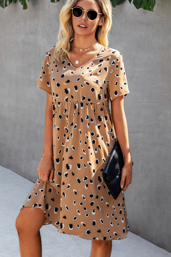 V Neck Leopartd Print Fashion Short Dress