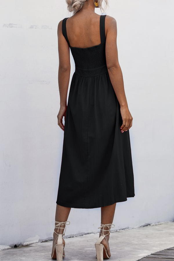 High Waist Square Neck Wide Strap Midi Dress