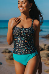 Smocked Chest Floral Print Tankini Set