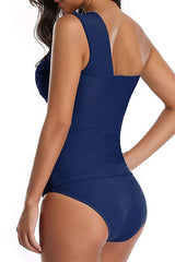 One Shoulder Ruched Navy Tankini Set