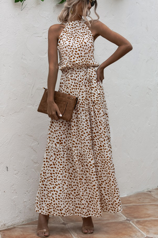 Polka Dot Print High Waist Maxi Dress