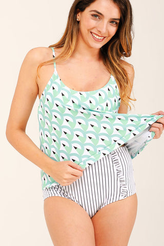 Printed Stringy Selvedge High Waist Tankini Set