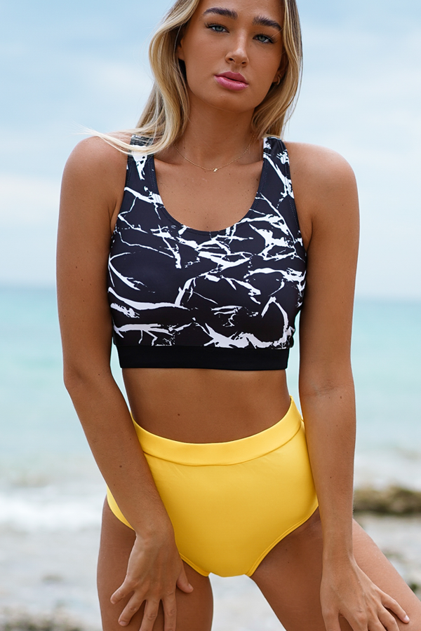 High Waist Racerback Printed Bikini Set