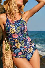 Flower Print Cross Back Tankini Set