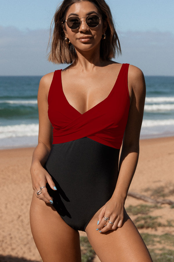 Color Block Criss Cross Front One Piece Swimwear