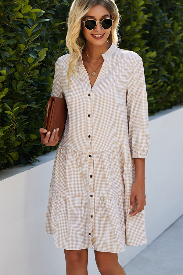 Split Neck Plaid Print Button Up Tunic Dress