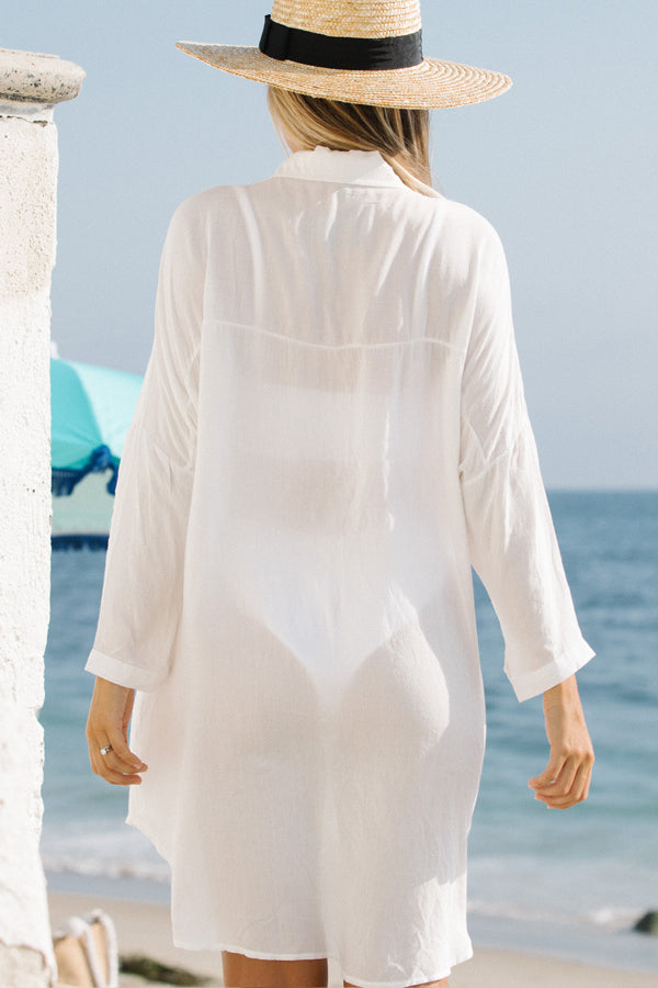 Solid Color Button Roll Up Sleeve Swimsuit Cover Up
