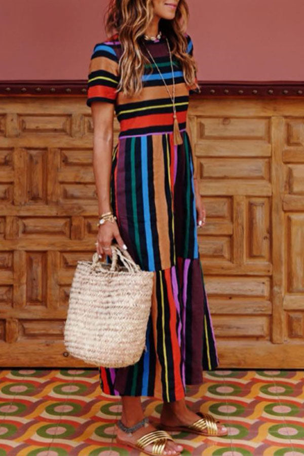 Rainbow Stripe Short Sleeve High Waist Maxi Dress
