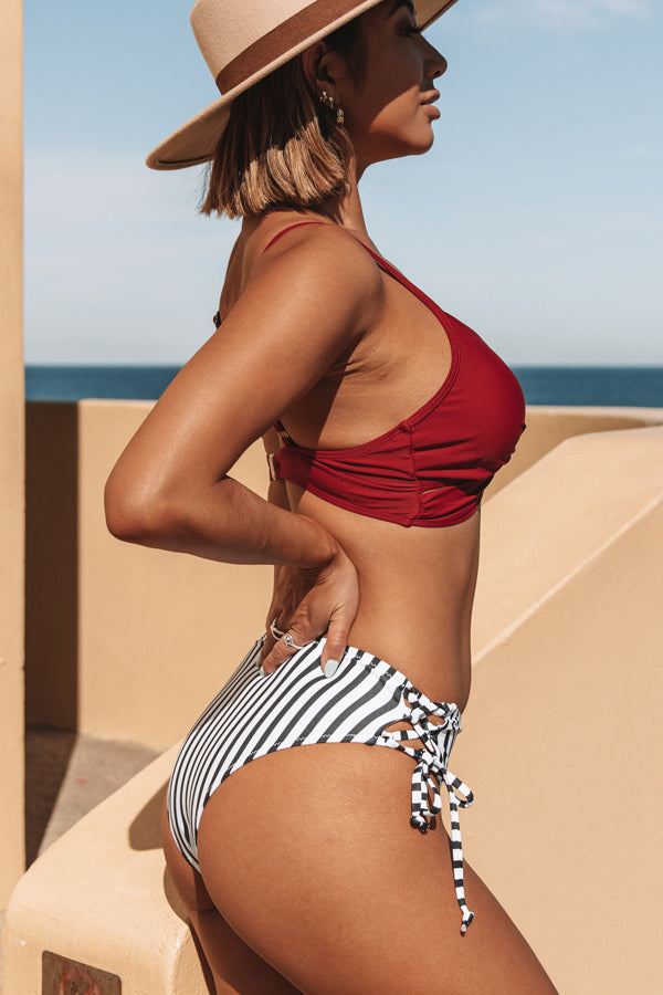 Red and Stripe Twist Front Bikini Set