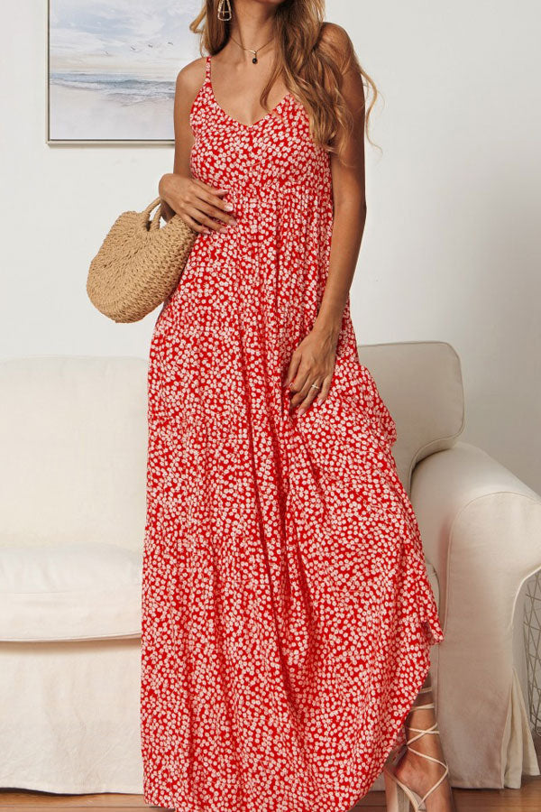 Floral Print High Waist Cami Maxi Dress