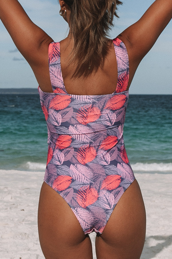 Leaf Print Ruched Design Sexy One Piece Swimsuits