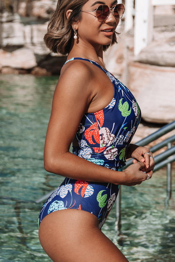 Leaf Print Ruched Chest Halter One Piece Swimsuits