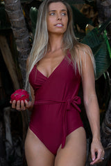 Tie Side V Neck Solid Color One Piece Swimwear