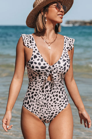 Leopard Print Ruffle Shoulder One Piece Swimsuits