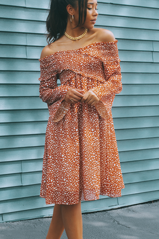 Flare Sleeve Polka Dot Print Bardot Dress