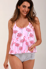 Flamingo Pink Cute Tankini Set