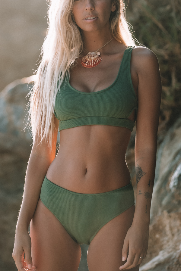 Mid Waist Cutout Side Army Green Bikini Set