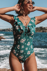 Floral Print Ruffle Embellished One Piece Swimwear