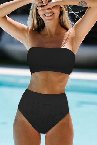 High Waist Solid Color Ribbed Bikini Set