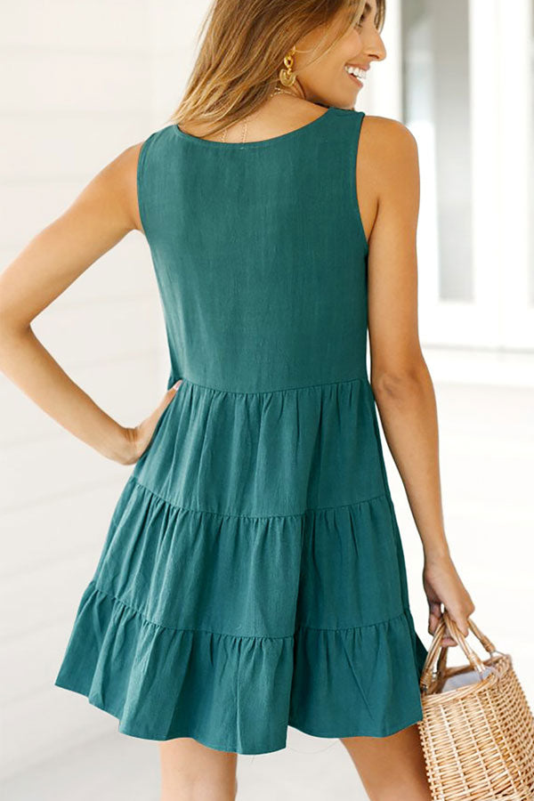 Frill Hem Button Up V Neck Mini Dress