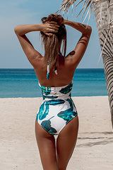 Leaf Print Halter Neck Ruched One Piece Swimsuit