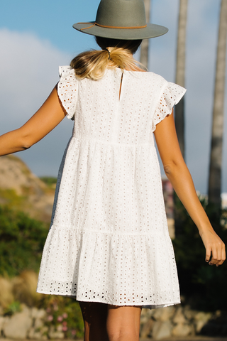 Round Neck Ruffle Sleeve White Lace Dress