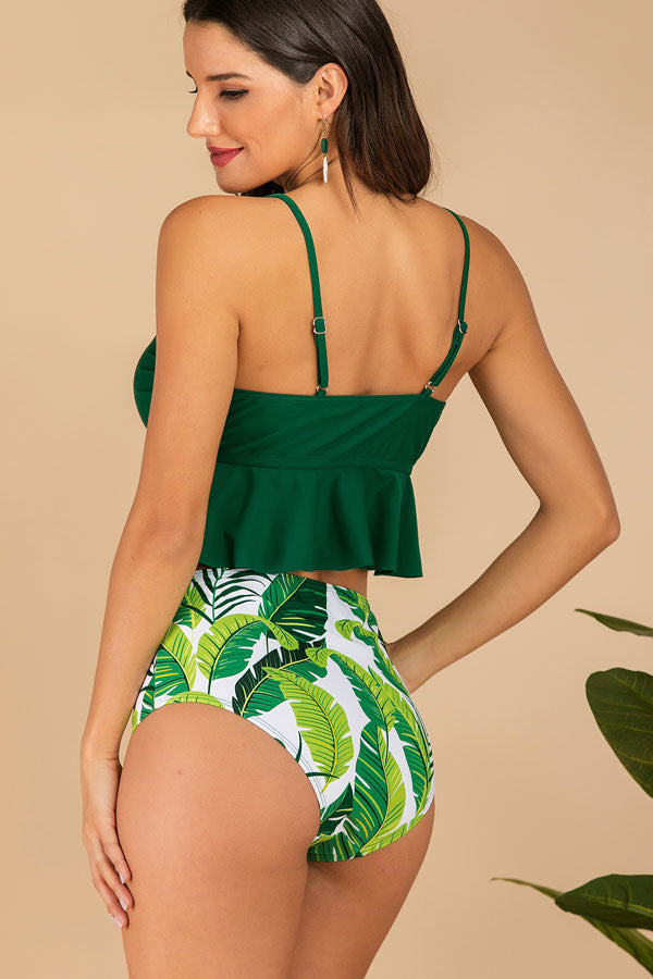 5 Colors Ruffle Embellished High Waist Bikini