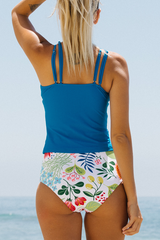 High Waist Flower Print Blue Tankini Set